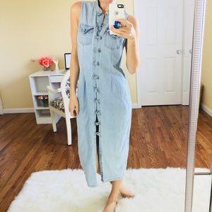 Vintage 90s Full Length Blue Jean Denim Dress